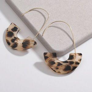 Jewelry - Open hoop acrylic resin earrings in animal print!